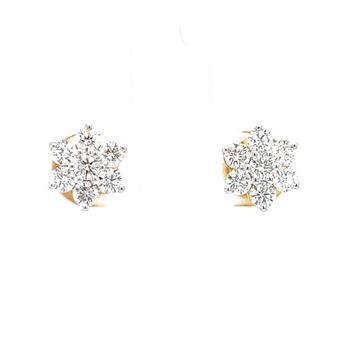 Traditional kudi seven diamond star stud in yellow...