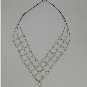Freshwater white button pearls 3 layers jaali wire necklace