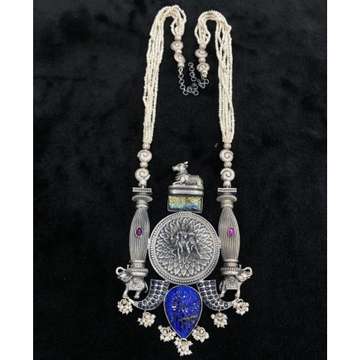 Pure silver temple long otp set with real gems by...