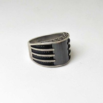 925 Sterling Silver Oxides Designed Gents Ring by