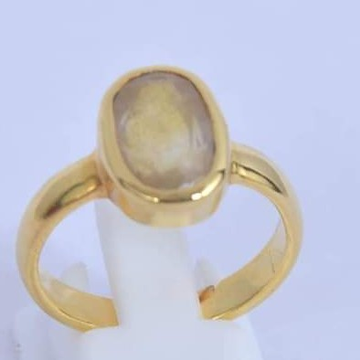 22KT Gems stone Yellow  Saffiare Ring For Unisex