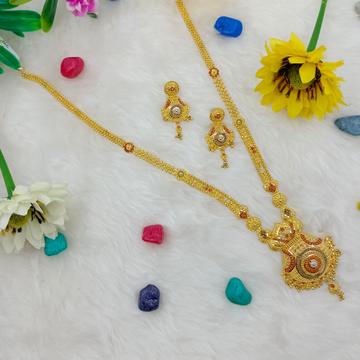 916 gold hallmark light weight long necklace set by Ranka Jewellers