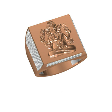 18K Fancy Ganesh God Design Rose Gold Ring-31318