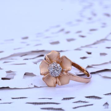 Ladies Rose Gold Flower Design Ring-RLR227