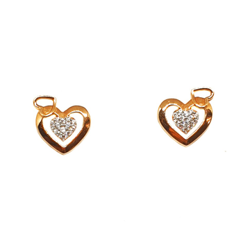 18K Rose Gold Heart Shaped Earrings MGA - BTG0156
