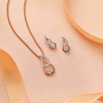 18KT Flower Shape Diamond Rose Pendant Set by