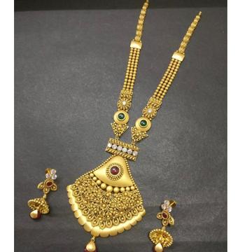 916 Gold Antique Bridal Long Necklace Set KG-N01 by Kundan