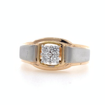 18kt rose gold 4 diamond classy band gents ring 8g...