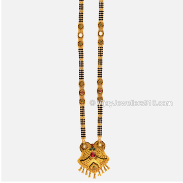 22K Gold Antique Black Beads Mangalsutra by