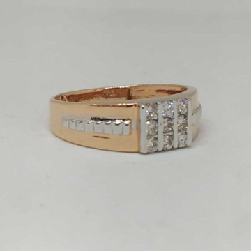Real diamond rose gold gents ring