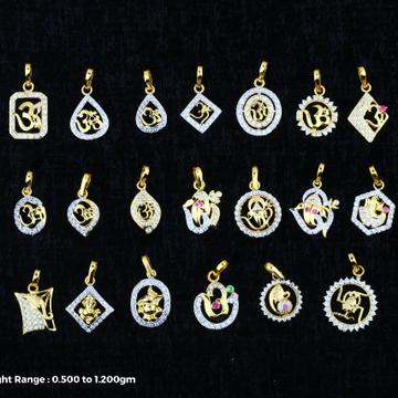 18 kt om ganpati pendal design by Saideep Jewels