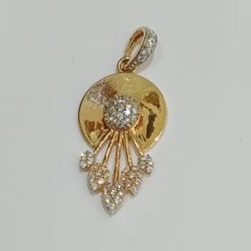 916 CZ Gold New Stylish Design Hallmark Pendat by