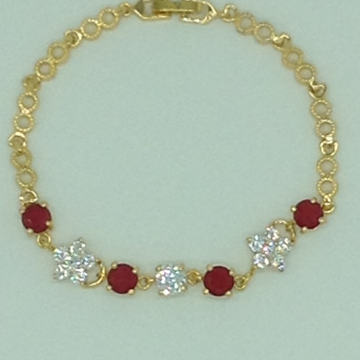 White And Red CZ Golden Alloy Chain Bracelet JBG02...