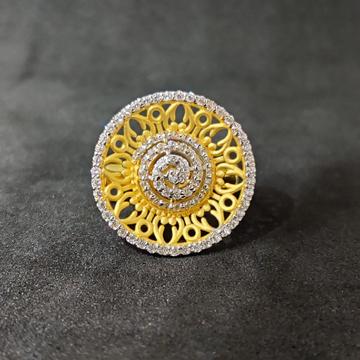 916 Girls Festival Wear White Stone Gold Ring - 15023