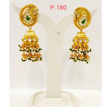 Keri shape Gold plated Wedding Jhumka earring with Hanging Moti 1690