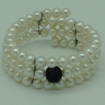 White Round Pearls And Black CZ Ball 3 Layers Stiff Bracelet JBG0151