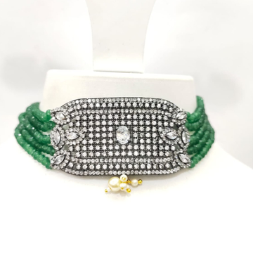 Green Bead Multi string with oxidized plated Diamond & stone Design choker set 1501