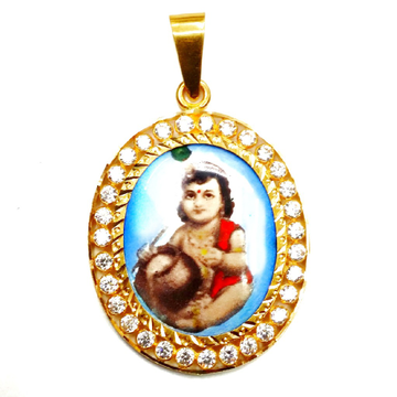 916 Gold CZ Diamond Oval Shaped Krishna Pendant MG...