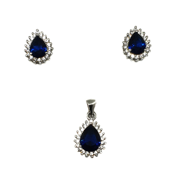 925 Sterling Silver Pear Shape Blue Diamond Pendant Set MGA - PTS0029