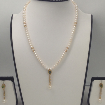 White,Parrrot Green CZ And PearlsPendentSet With FlatPearls Mala JPS0121