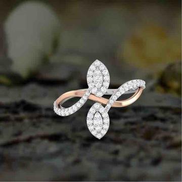 18KT Rose Gold Modern Designer Diamond Rose Ring