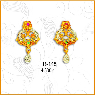 22kt Gold CZ Antique Earring ER-148
