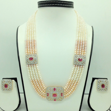 White ,Red CZBroochSet With 5Lines ShadedPearl...