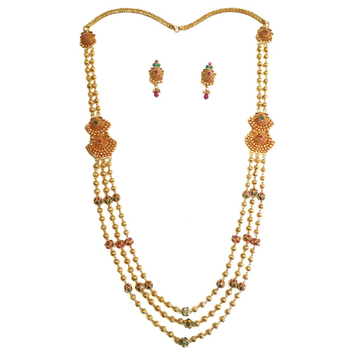 22k Gold Antique Designer Mala Necklace Set MGA - GLS041
