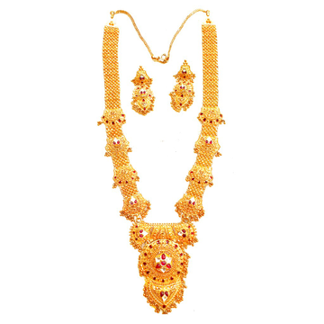 22K Gold Antique Rajwadi Necklace With Earrings MGA - GLS69