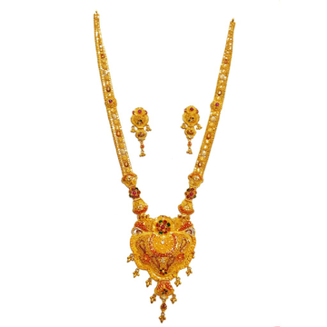 22k Gold Dark Pink Flower Shape Necklace Set MGA - GLS084