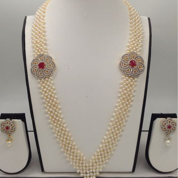 """White And RedCZ BroachSet With Seed""""V"""" Jali Pearls Mala JPS0203"""