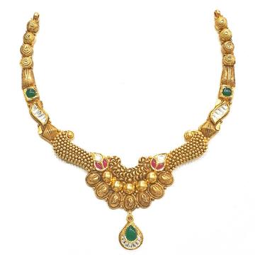 916 gold antique necklace set mga - gn006