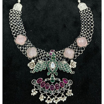 925 pure silver statement temple necklace by puran...
