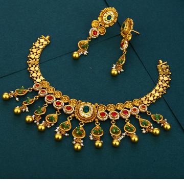 916 gold designer hallmark plated Antique  necklace set