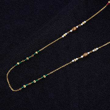 Ladies 22K Gold Delicate Single Line Fancy Mala-AC109