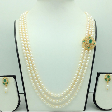 White,Green CZBroochSet With 3Lines OvalPearls...