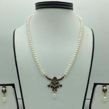 Blue CZ Pendent Set With Flat Pearls Mala JPS0617
