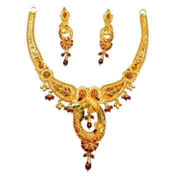 916 Gold Oval Shaped Designer Necklace Set MGA - GN068