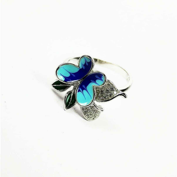 Descent Designer 925 Silver Ladies Ring With Blue Butterfly