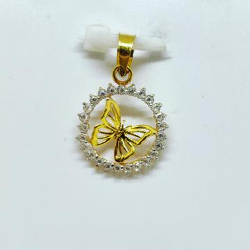 18 KT 750 Hallmark fancy diamond Butterfly Pendent by Harekrishna Gold