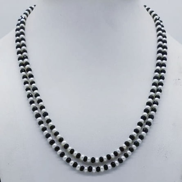 Freshwater white pearls and black cz necklace jpm0...