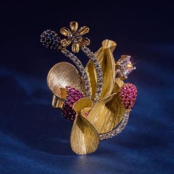 916 Gold Spra Dull Ladies Ring RH-SLR048