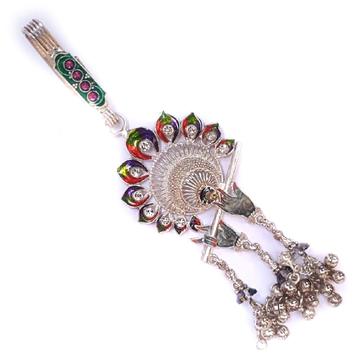 Krishna bansuri with meenakari morpinch silver juda mga - jus0014