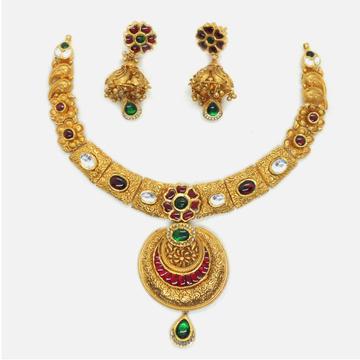22KT Gold Antique Bridal Necklace Set RHJ-6031