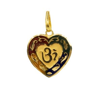 22 K GOLD OM HEART SHAPE PENDENT