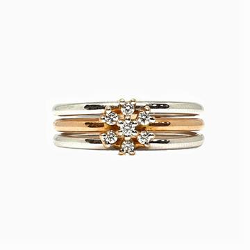 18K White Gold Rose Gold Real Diamond Ring MGA - RDR0012