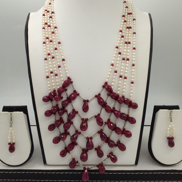 White pearls and ruby drops haar set jpp1037