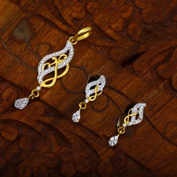 916 gold CZ hallmark Unique Design Pendant Set