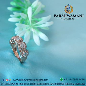 92.5 Sterling Silver Rose Plated Cz Ring for Women