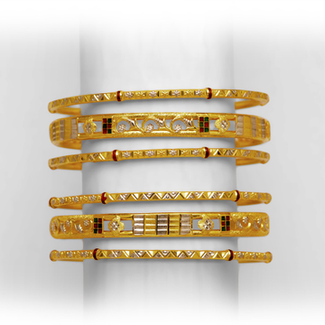 GOLD TRADITIONAL 6 PAIR COPPER KADLI BANGLE